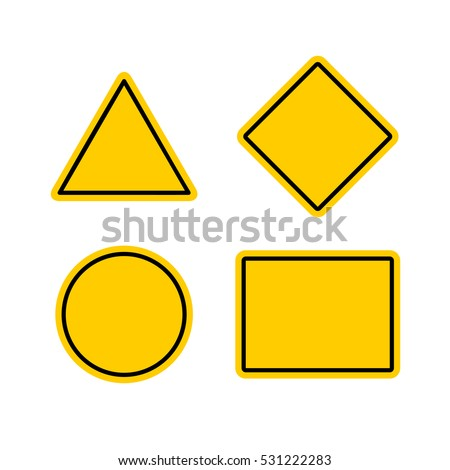 Empty warning sign templates set. Triangle, square or rhombus, round and rectangle shapes. Yellow orange color with black frame.