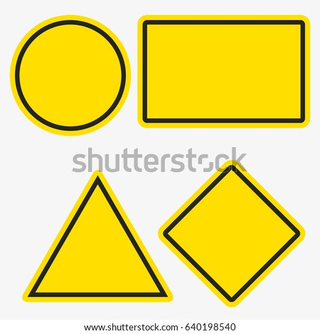Empty warning sign templates set. Triangle, square or rhombus, round and rectangle shapes. Yellow orange color with black frame #640198540
