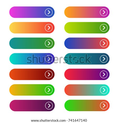 Empty web buttons. Modern designed buttons collection, functionality working on a webpage menu. Vector flat style cartoon illustration isolated on white background