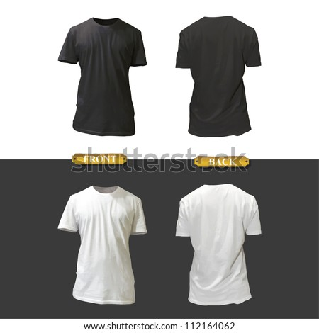 Empty white and black shirt design. Realistic vector illustration.