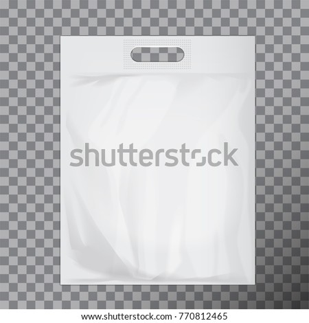 Empty white blank plastic bag mock up isolated. Consumer pack ready for logo design or identity presentation. Commercial product food packet handle for your design