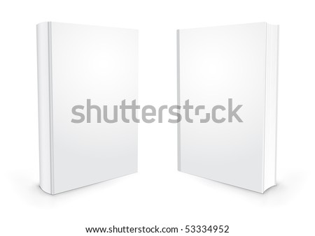 Empty white books isolated on the white background - stock vector