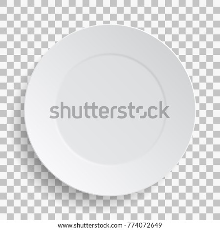 Empty white dish plate background. Illustration Vector round dinner plate on transparent background.