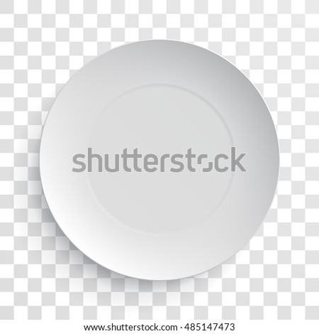 Empty white dish plate background. Vector round dinner plate. Illustration on transparent background.