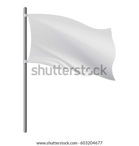 Empty white flag developing in the wind mockup. Realistic illustration of empty white flag developing in the wind vector mockup for web #603204677