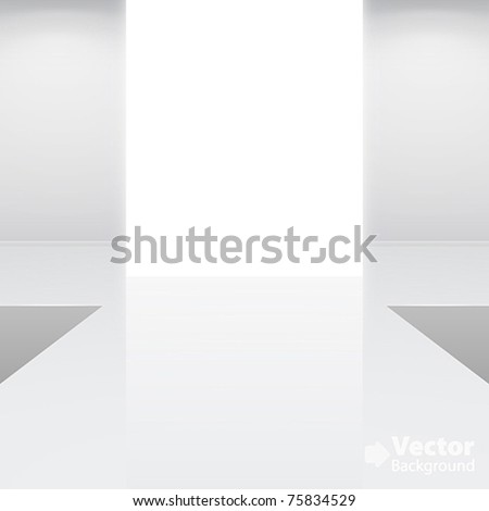 Empty white interior a fashion podium Vector illustration