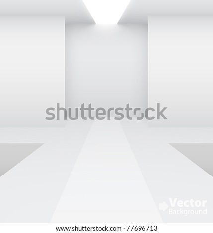 Empty white interior Fashion podium Vector illustration