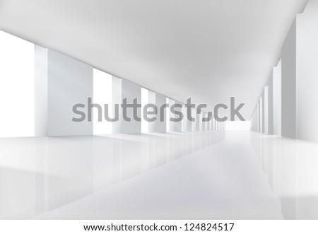 empty white interior vector