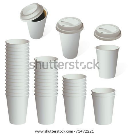 Empty white paper cup set isolated on white.Vector