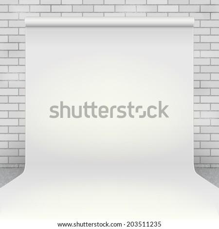 empty white paper photo studio
