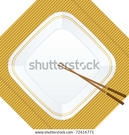Empty white plate with chopsticks on a bamboo cover. Vector illustration.