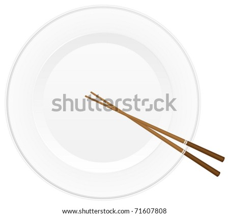 Empty white plate with chopsticks. Vector illustration.