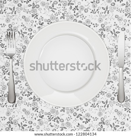 empty white plate with knife and fork. vector design