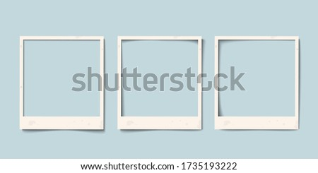 Empty white realistic paper old photo frame with different shadows. Retro vintage vector set templates,  layouts for nostalgia scrapbook Foto stock ©