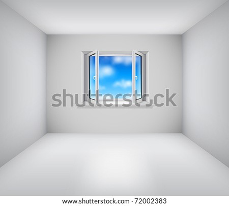 Empty white room with open window and blue sky