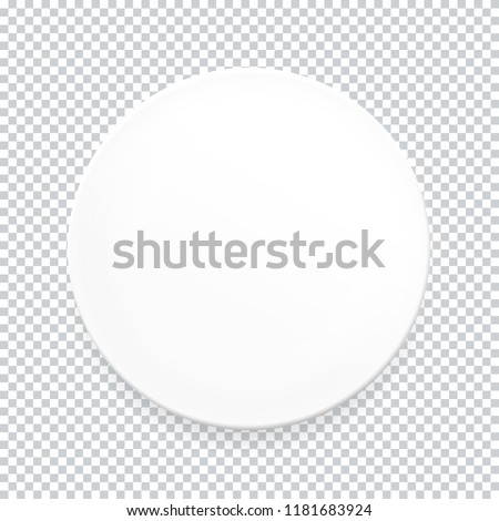 Empty white round plate on transparent background for your design. Vector Illustration EPS10 #1181683924
