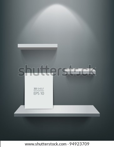 Empty white shelf and frame on black wall, vector illustration