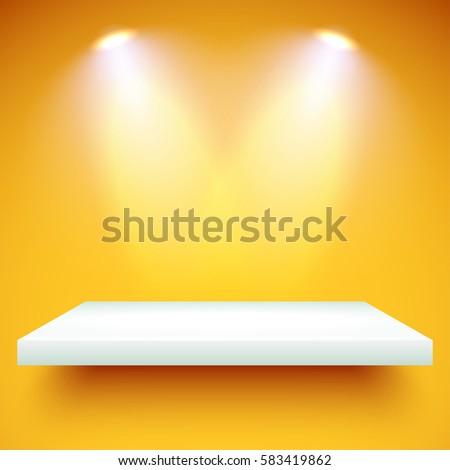 empty white shelf hanging on a