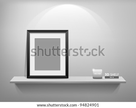 Empty white shelf with blank photo frame, vector illustration