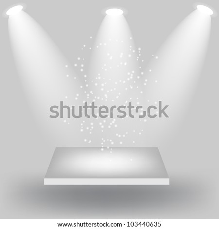 Empty white shelves on light grey background. Vector  illustration