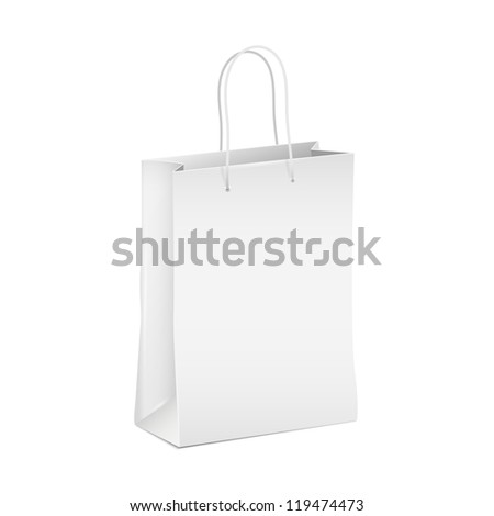 Empty white shopping paper bag. Vector eps10 - stock vector