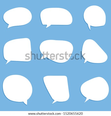 Empty white speech bubbles on a blue background. Vector graphics.