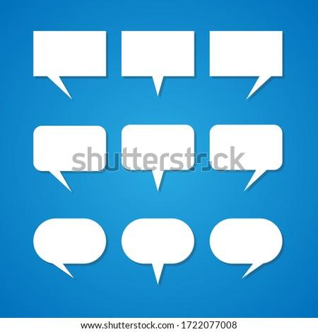 Empty white speech bubbles,The idea is set on a blue background. EPS 10 vector.