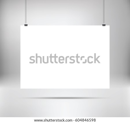 Empty white vector horizontal poster template poster mockup template of blank vector poster
