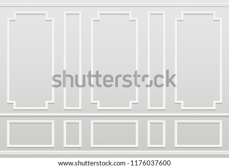 Empty white wall. Moulding panels classic home decoration. Living room vector interior. Illustration of wall plaster panel, architecture interior