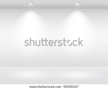 empty white wall with halogen lamps. vector template