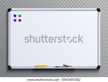 Empty whiteboard with marker pens and magnets. Business presentation office white board isolated vector mockup. Illustration of whiteboard clean with colored markers - Shutterstock ID 1043685682