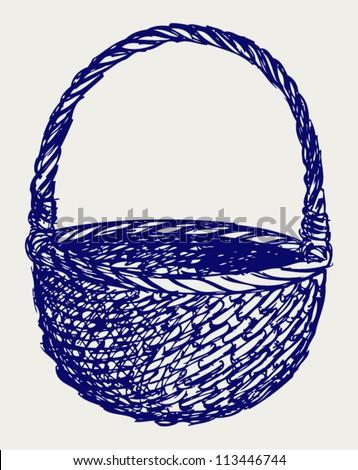 Empty wicker basket. Doodle style