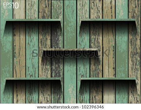 Empty wood shelf. grunge industrial interior Uneven diffuse lighting version. Vector Design component