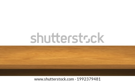 Empty Wood table top isolated on white background. Brown wood texture  with copy space for display of content design.Banner for advertise product. Perspective brown wood couter.vector illustration. Photo stock ©