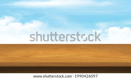 Empty Wood table top on blue sky background. Brown wood texture  with smooth and clean sky for display of content design.Banner for advertise product.Perspective brown wood couter.vector illustration. Photo stock ©