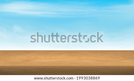 Empty Wood table top on blue sky background.Brown wood texture  with smooth and clean sky for display of content design.Banner for advertise product. Perspective brown wood couter.vector illustration. Photo stock ©