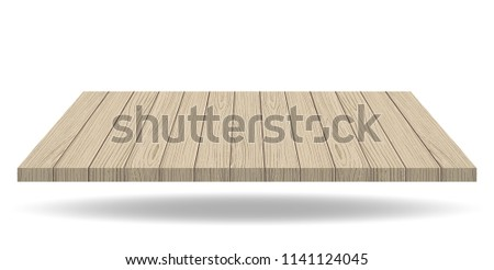 Empty wooden presentation board top on white background, display table with empty space. Vector illustration.