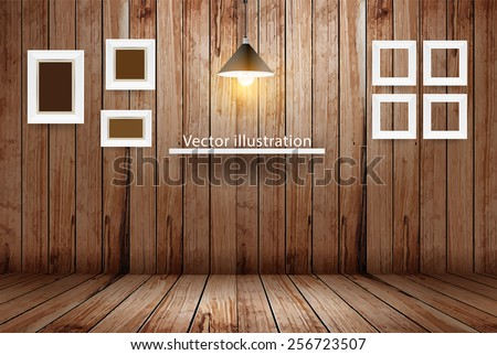 empty wooden room  vector