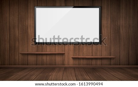 empty wooden room with wide tv