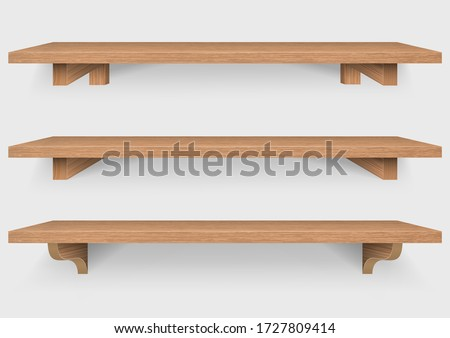 empty wooden shelf with wood mounting bracket isolated on white background, Vector Illustration Сток-фото ©