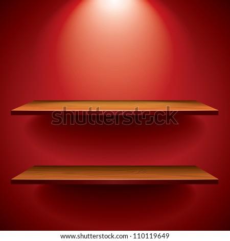 empty wooden shelves for exhibit