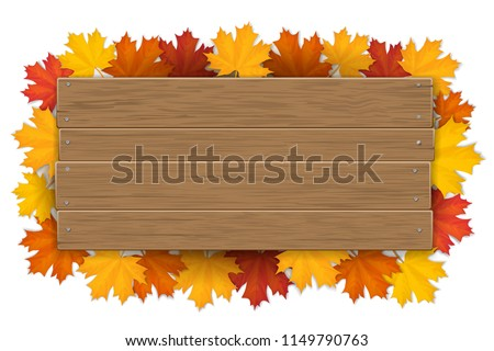 Empty wooden sign with space for text on a background of maple tree leaves. The template for a banner or an advertisement for a autumn seasonal discount.
