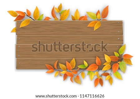 Empty wooden sign with space for text on a background of tree branches with autumn leaves. The template for a banner or an advertisement for a seasonal discount.