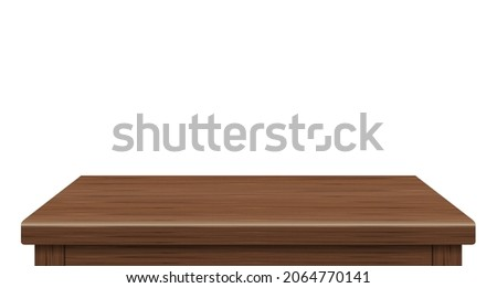 Empty wooden table side view of free space, For your copy branding. Used for display or montage products. Vintage style concept. Wood brown realistic surface isolated on white background. 3D Vector.