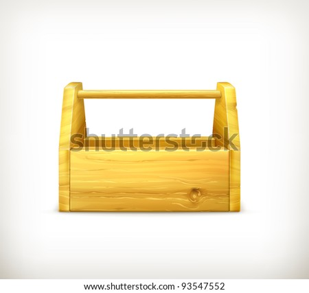 Empty wooden toolbox, 10eps