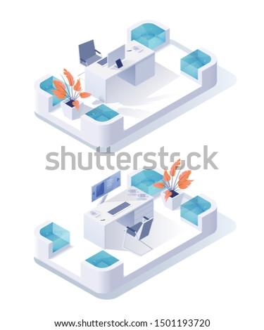 empty workplace isometric