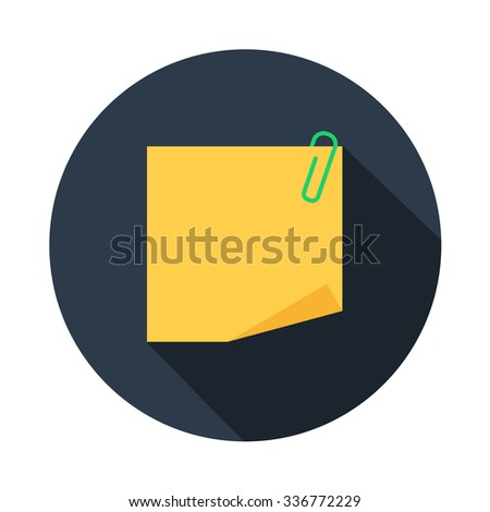 empty yellow blank note paper with clip, divorced single sheet of paper color vector flat icon in color round with long shadow