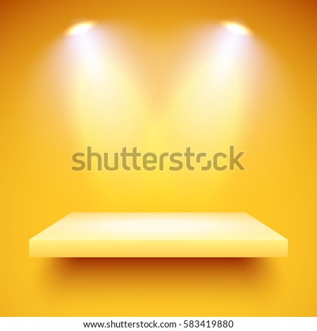 empty yellow shelf hanging on a