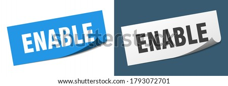 enable sticker set. enable paper peeler sign Stock foto ©