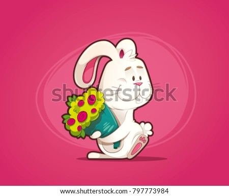 enamored rabbit with bouquet of